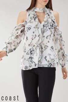 Coast Cream Becky Floral Print Frill Top