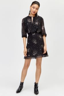Warehouse Black Sparkle Star Tie Back Dress