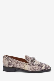 Hardware Square Toe Leather Loafers