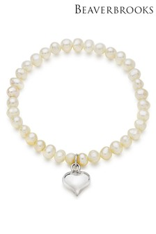 Beaverbrooks Children's Silver Freshwater Cultured Pearl Heart Bracelet