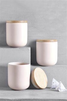 Set of 3 Blush Hutton Storage Jars