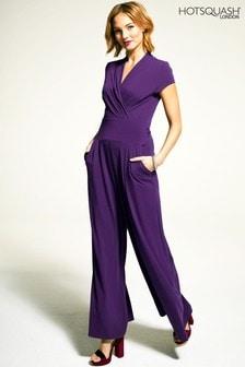 HotSquash Purple Cap Sleeved Wide Leg Jumpsuit