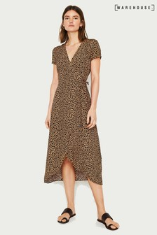Warehouse Tan Animal Print Wrap Dress