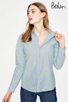 Boden Blue And Ivory Stripe Classic Shirt