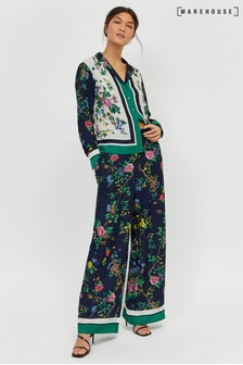 Warehouse Green Floral Scarf Wide Leg Trouser