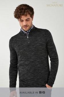 Col zippé en laine mérinos