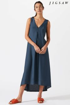 Jigsaw Blue Silk Viscose Maxi Dress
