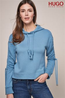 HUGO Light Blue Hoody With Knotted Cord