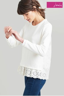 Joules Cream Giselle Sweatshirt With Scalloped Edge