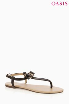 Oasis Black Bambi Toe Post Sandal