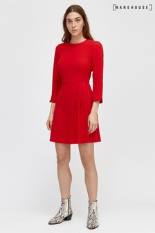 Warehouse Red Kilt Pleat Mini Dress