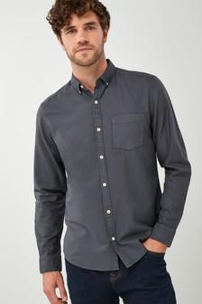 Крашеная рубашка с длинным рукавом из фактурной ткани