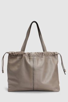 Leather Ruched Shopper