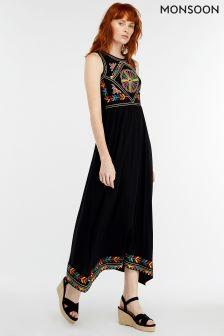 Monsoon Black Maylin Embroidered Midi Dress