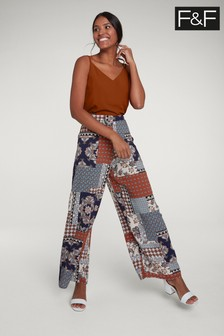 F&F Navy Paisley Wide Leg Trouser