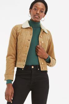 Oasis Mid Neutral Borg Collar Cord Jacket