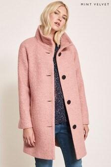 Mint Velvet Pink Funnel Neck Bouclé Coat