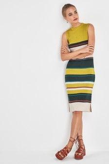 Knitted Rib Stripe Midi Dress