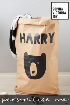 Personalised Bear Paper Toy Sack by Sophia Victoria Joy