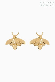 Oliver Bonas Gold Tone Bee Gold Plated Brass Stud Earrings