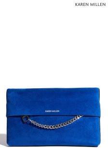 Karen Millen Blue Chain Zip Detail Bag