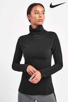 Nike Pro Black Hyper Warm Velour Training Top