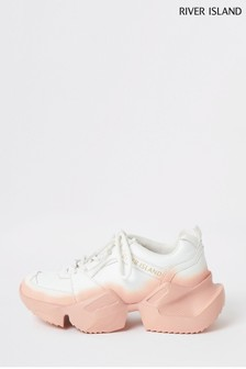 River Island White Ombre Chunky Trainers