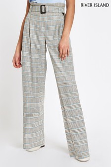 River Island Grey Check Paperbag Waist Trouser