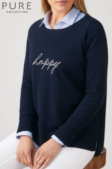 Pure Collection Blue Slogan Jumper