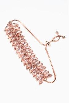 Tone Crystal Effect Pully Bracelet