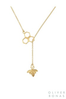 Oliver Bonas Gold Tone Honeycomb Bee Gold Plated Brass Necklace