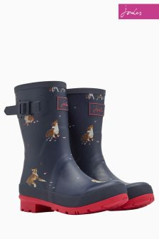 Joules French Navy Dogs And Leaves Molly Welly