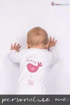 Personalised Hello World Sleepsuit by Loveabode
