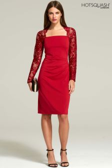 HotSquash Red Lace Sleeve Hostess Dress