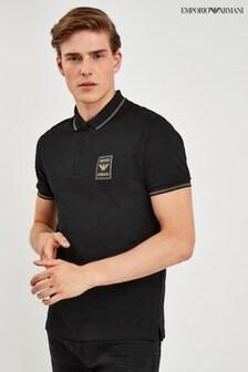 Emporio Armani Black Gold Trim Poloshirt