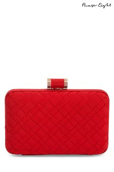 Phase Eight Carmine Clio Weave Box Clutch