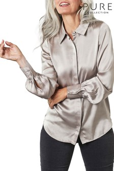 Pure Collection Silver Silk Satin Shirt