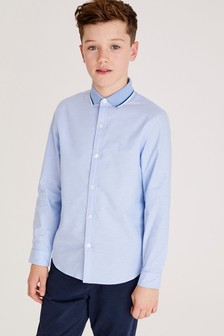 Long Sleeve Oxford Shirt With Jersey Collar (3-16yrs)
