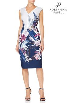 Adrianna Papell Blue Tropical Sheath Dress