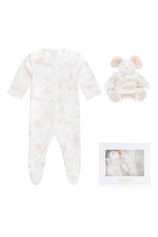 Girls Pink Cotton Toile De Jouy Babygrow Gift Set