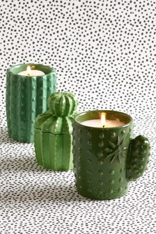 Set of 3 Gin & Tonic Ceramic Cactus Shaped Candles