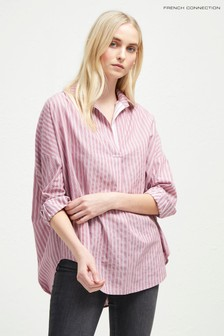 French Connection Pink/White Oversized Shirt