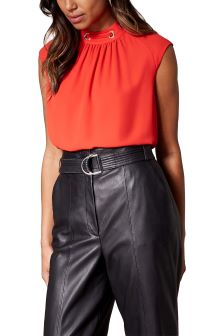Karen Millen Red Fluid Eyelet Top