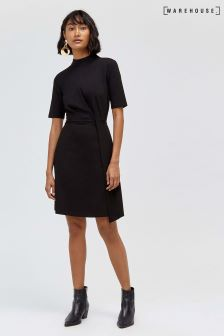 Warehouse Short Sleeve Ponte Dress