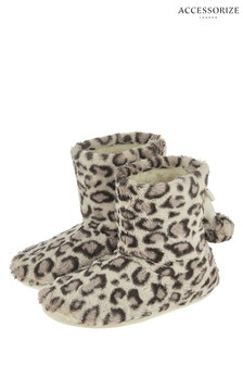Accessorize Furry Leopard Print Slipper Boot