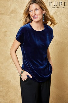 Pure Collection Blue Midnight Silk Velvet T-Shirt
