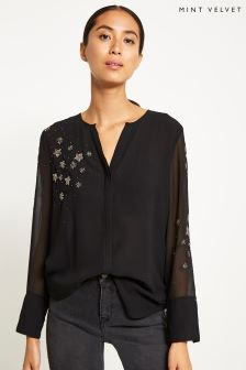 Mint Velvet Black Constellation Blouse