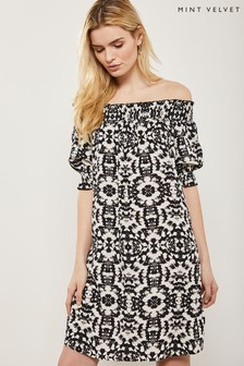Mint Velvet White Khloe Print Bardot Dress
