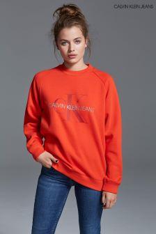Calvin Klein Jeans Orange Relaxed Monogram Sweatshirt
