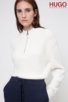 HUGO Syncere ¼ Zip Ribbed Knit Jumper